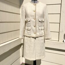 Vintage Genny Oro By Versace Tweed Jacket Skirt Suit Ivory Size 2/4
