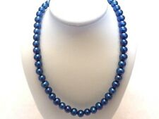 """Freshwater Cobalt Blue dyed Pearls 6-7mm strand 18"""" necklace SS(925) clasp NWOT"""