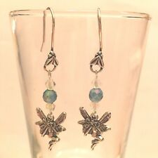 HAND MADE FAIRY SILVER TONE EARRINGS W/COLOR CHANGE BEADS & CLEAR CRYSTALS  #197