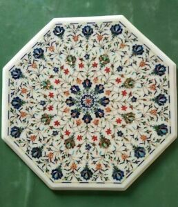 "24"" Marble Coffee Table Top Pietra Dura handmade Inlay Home Decor"