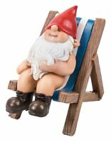 Gnaughty Gnome Naughty Deckchair Ornament Gift - Indoor or Outdoor - Funny NEW