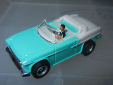 DASH TURQ/WHITE CONVERTIBLE '55 CHEVY SLOT CAR with AUTO WORLD CHASSIS n DRIVER