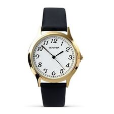 Sekonda 3134 Unisex White Dial Gold Plated Case Strap Leather Dress Watch