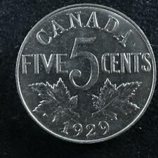 5 cents 1929 Canada Nickel c ¢ King George V half-dime AU-50