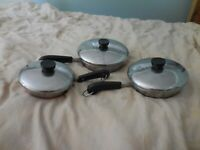 """Lot 3 Revere Ware Fry Pan Skillet Stainless Copper Clad Bottom 6"""" 7"""" 8"""" w/ lids"""