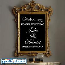 Custom Wedding Welcome Sign Decal Wedding Decor Mirror Sticker WHITE COLOUR