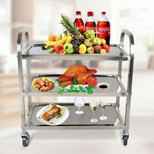 Stainless Steel 3 Tier Trolley Cart Kitchen Restaurant Serving Catering Train UK