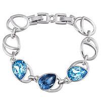 Swarovski Element Crystal Rhodium-Plated Bangle & Aqua Tear Drop Crystal B0058A