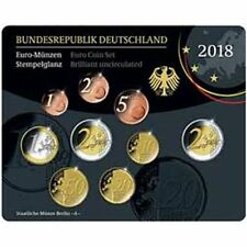 2018 Germany 9-Coin Euro Brilliant Uncirculated UNC BU Coin Set Berlin Mint A