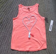 DKNY Girls Neon Peach Tank Top - Size L - NWT