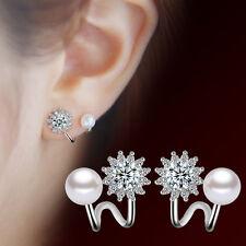Korean Womens 925 Sterling Silver Pearl Zircon Crystal Simple Ear Stud Earrings