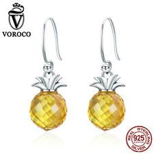 Voroco S925 Sterling Silver Hook Drop Earrings Pineapple Dangle Fashion Jewelry