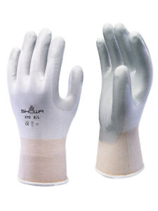 10 x SHOWA 370 Assembly Precision Grip Gloves Nitrile Palm White Perfect Fit