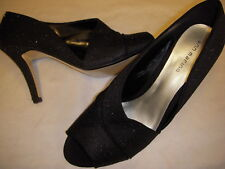 Ann Marino Garnet Glitter Fabric High Heel Peep Toe Pumps 11 M Medium Black ~