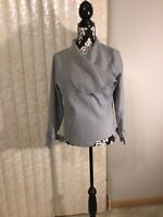 Womens Gray Cotton-Blend Jacket With Large Collar Size Small