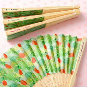 50-240 Personalized Pineapple Design Folding Fan - Tropical Wedding Party Favor