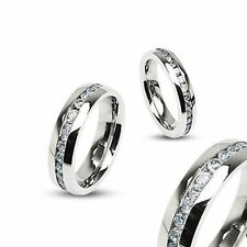 Unbranded Stainless Steel Band Stone Fashion Rings