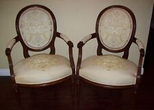 Antique Pair 18th C. Louis XVI Fauteuil Cabriolet Medallion Arm Chairs