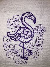 Embroidered Kitchen Bar Hand Towel BS0440 PURPLE DOODLE FLAMINGO