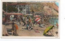 1930s Postcard of People on the Beach at Hotel St Catherine Avalon Catalina CA