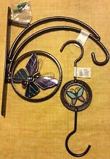"""Plant Hanging Bracket & Extension Hook w/Butterfly 12"""" Bronze Mosaic Glass New"""