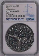 NGC MS70 Niue 2020 Atlas Titans Glow In The Dark Silver Coin 2oz COA