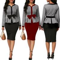 Womens Casual Dress Elegant Office Wear Midi Skirt Evening Cocktail Vestido Bow