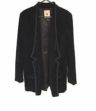 One Teaspoon Black Blazer Velvet Smoking Jacket Size 10 S-M