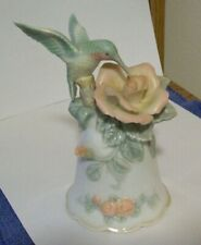 Cosmos Hummingbird & Pink Rose on Fine Porcelain Bell