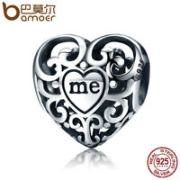 Bamoer Classic S925 Sterling Silver Hollow Charm true self For Bracelets Jewelry