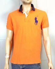 vtg 90s euc Polo Ralph Lauren Bright Orange Big Pony SS Rugby Shirt custom fit L