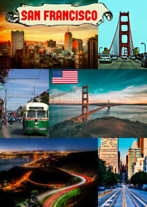 SAN FRANCISCO, USA - SOUVENIR NOVELTY FRIDGE MAGNET, SIGHTS / FLAG / MAP / GIFTS