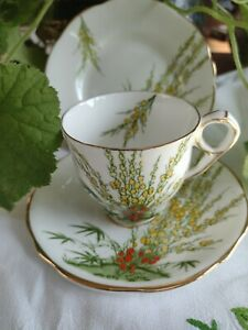 Antique Hand Painted China Trio Coffee Cup Saucer Biscuit Plate Art Deco Broom