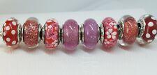 lot 8 Charms Pandora flowers red pink snow white anna dots minnie Murano set