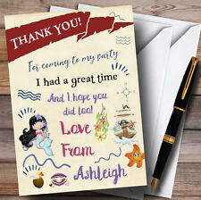 Stripy Pink Girls Pirate Party Thank You Cards