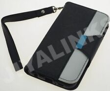 BLACK 2 COLOUR FLIP WALLET CASE COVER FOR APPLE iPHONE 4 4S