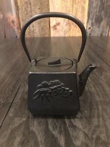 Square Cast Iron Metal Tea Pot With Floral Design