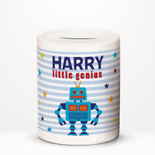 Personalised Robot Little Genuis Kids Children's Savings Money Box Gift Idea