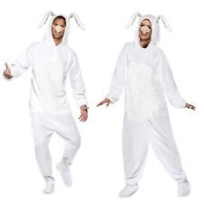 Adult Mens Ladies White Easter Bunny Rabbit Spring Jumpsuit Fancy Dress Costume