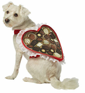Chocolate Heart Shaped Candy Box Dog Costume With Lace & Filled Rasta Imposta