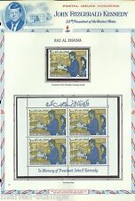 RAS AL KHAIMA  MEMORIAL TRIBUTE TO J.F. KENNEDY STAMP AND SHEETLET SET