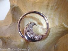 28mm Solid 14k Rose Gold Ocean Wave 0.30Cts Clear White Diamond Slide Pendant