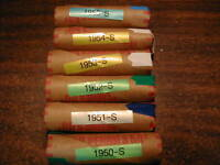 """1940-S-1949-S LINCOLN WHEAT CENT ROLL SET 10 /""""S/"""" ROLLS"""