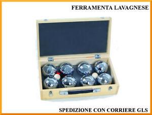 Set 8 bocce petanca in box di legno con pallini e misuratore