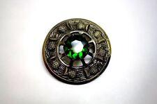 "Scottish Green Stone Antique Brass Brooch for Kilt Fly/Piper Plaid 3"" Diameter"