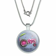 "Farm Tractor Country Girl Pink Farming 1"" Pendant w/ Silver Plated Chain"