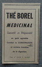 Publicité THE BOREL DEPURATIF LAXATIF  advert 1960