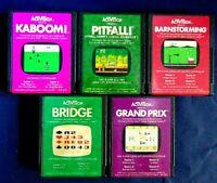 Atari 2600 Game Cartridge Lot Of 5 All Activision Pitfall Kaboom! Grand Prix +