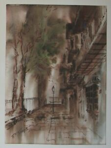 New Orleans Street Scene Watercolor by Robert Rucker