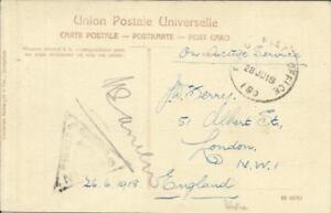Palestine BRITISH MILITARY Field Post Office 180(TRANS-JORDAN) 28/JU/18 postcard